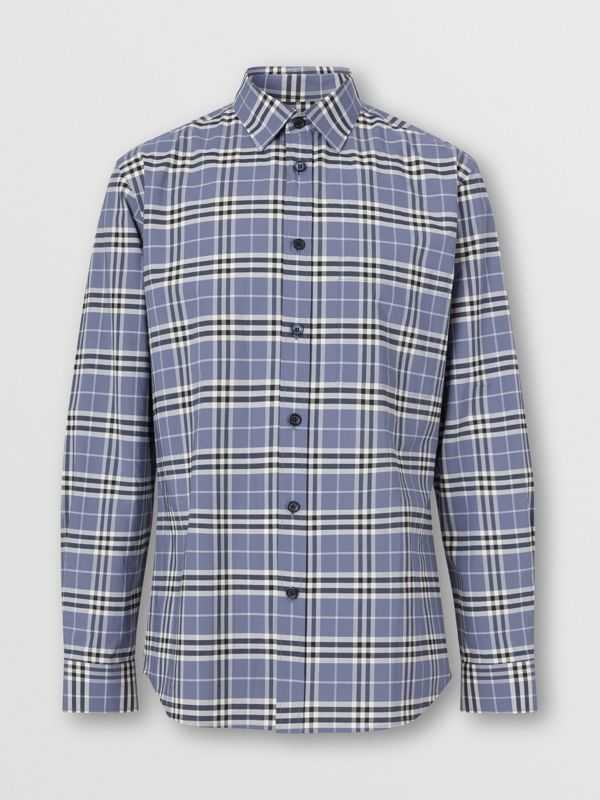 Small Scale Check Stretch Cotton Shirt in Pebble Blue - Men | Burberry United Kingdom - cell image 3