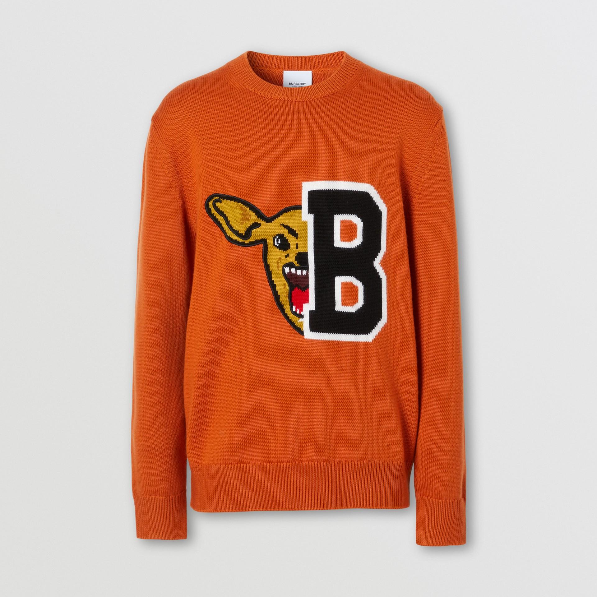 Varsity Graphic Merino Wool Jacquard Sweater in Burnt Orange - Men   Burberry - gallery image 3