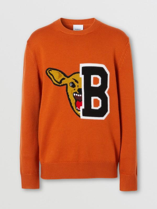 Varsity Graphic Merino Wool Jacquard Sweater in Burnt Orange - Men   Burberry - cell image 3