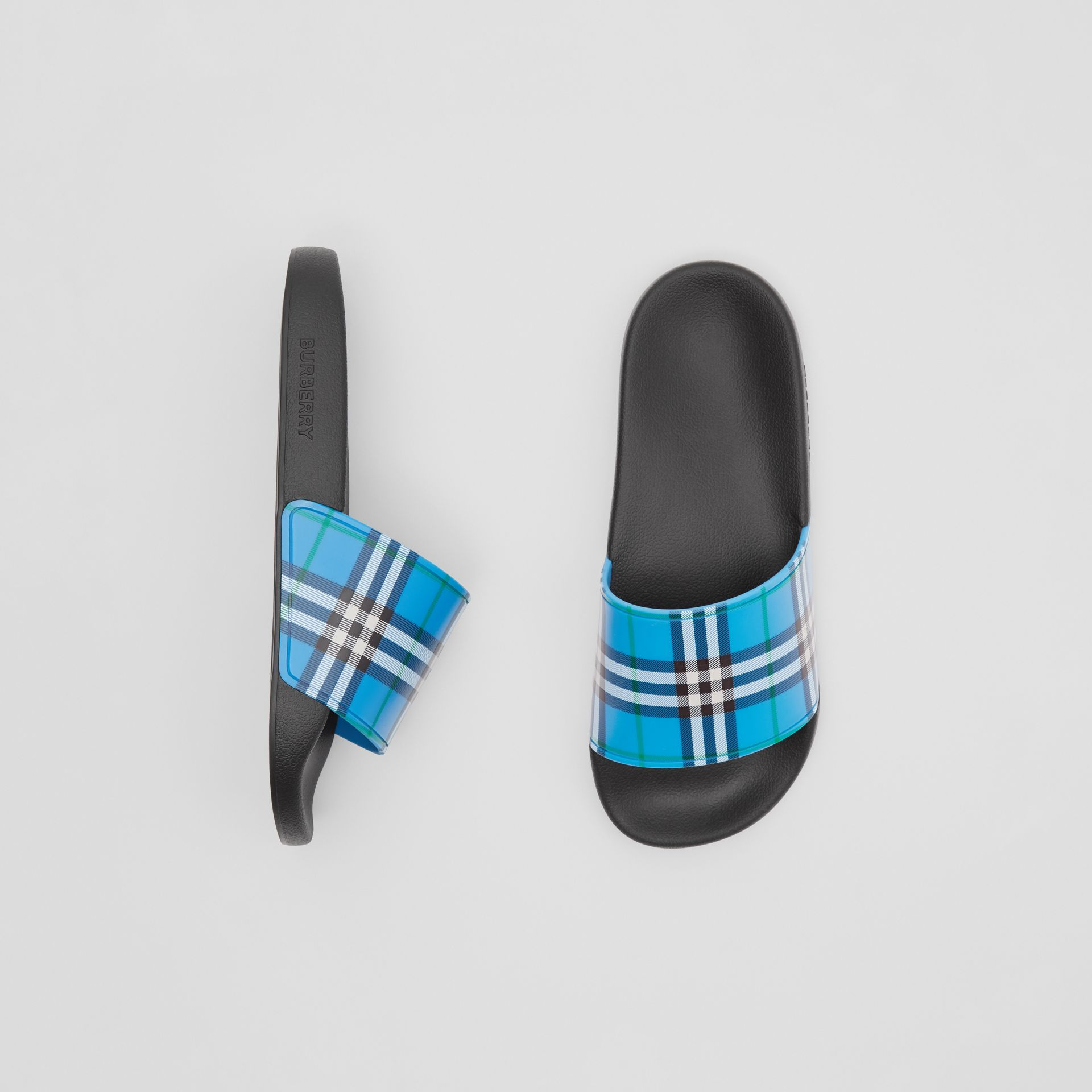 Check Print Slides in Blue Azure - Women | Burberry United Kingdom - gallery image 0