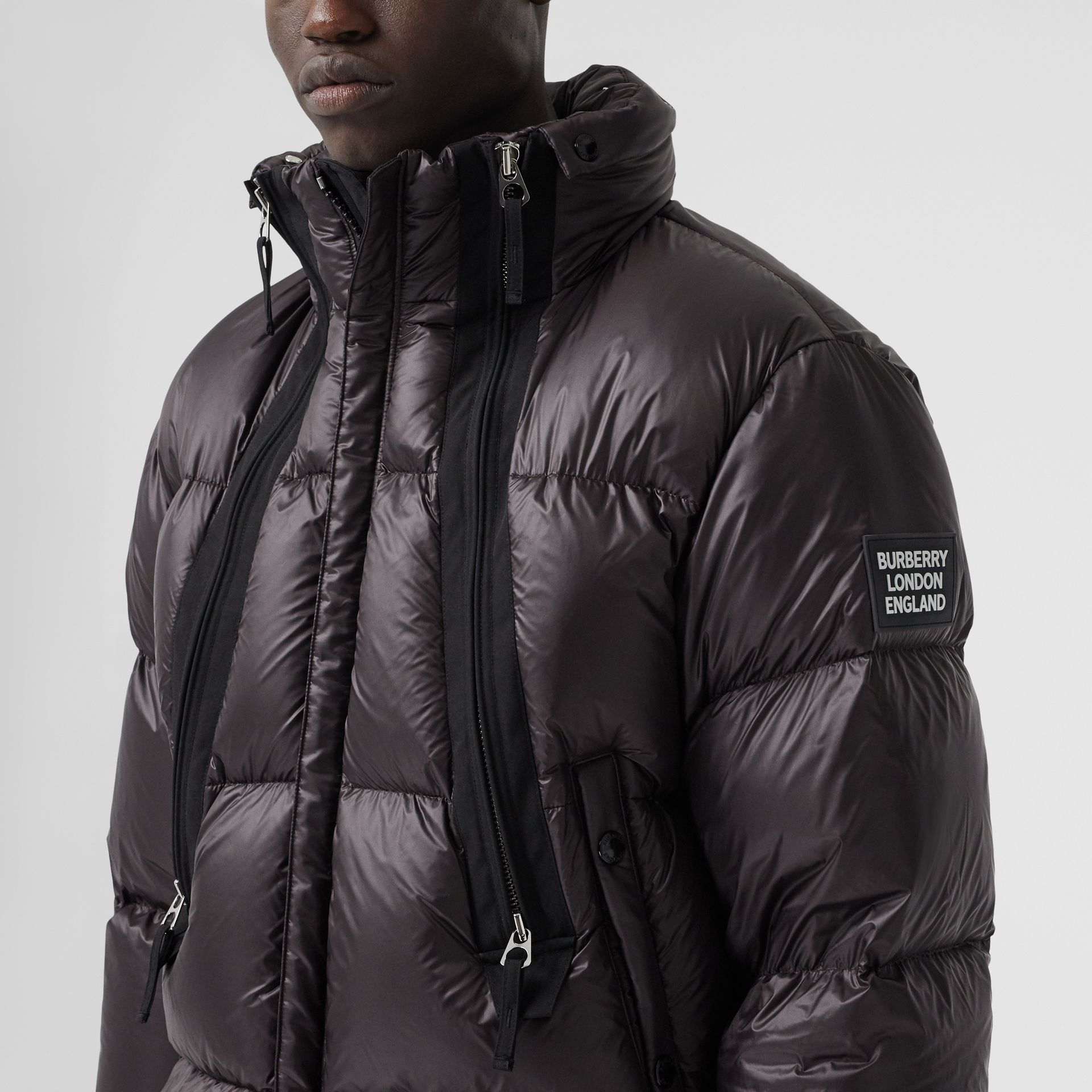Packaway Hood Zip Detail Puffer Jacket in Deep Brown - Men | Burberry - gallery image 1
