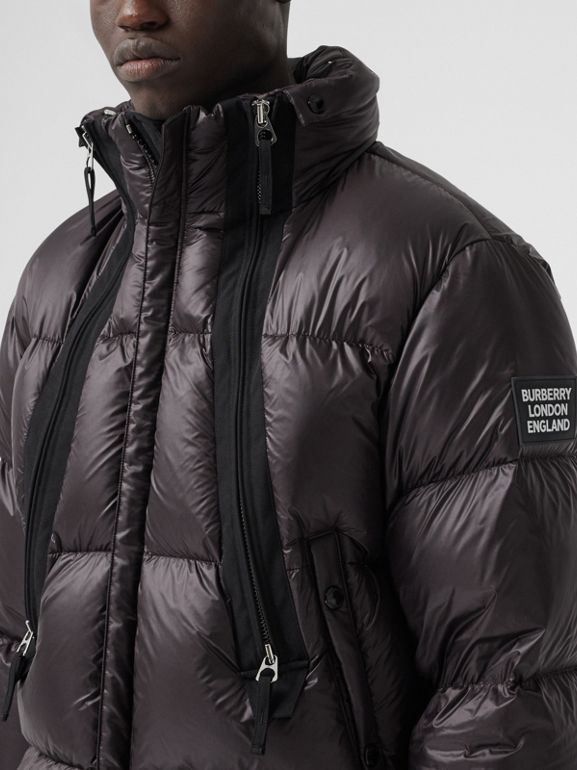 Packaway Hood Zip Detail Puffer Jacket in Deep Brown - Men | Burberry - cell image 1