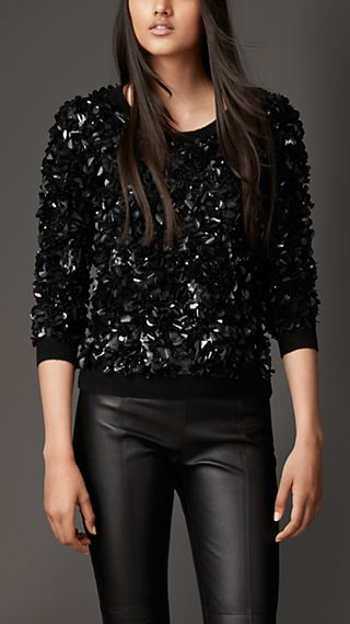 Wool Cashmere Crushed Sequin Jumper