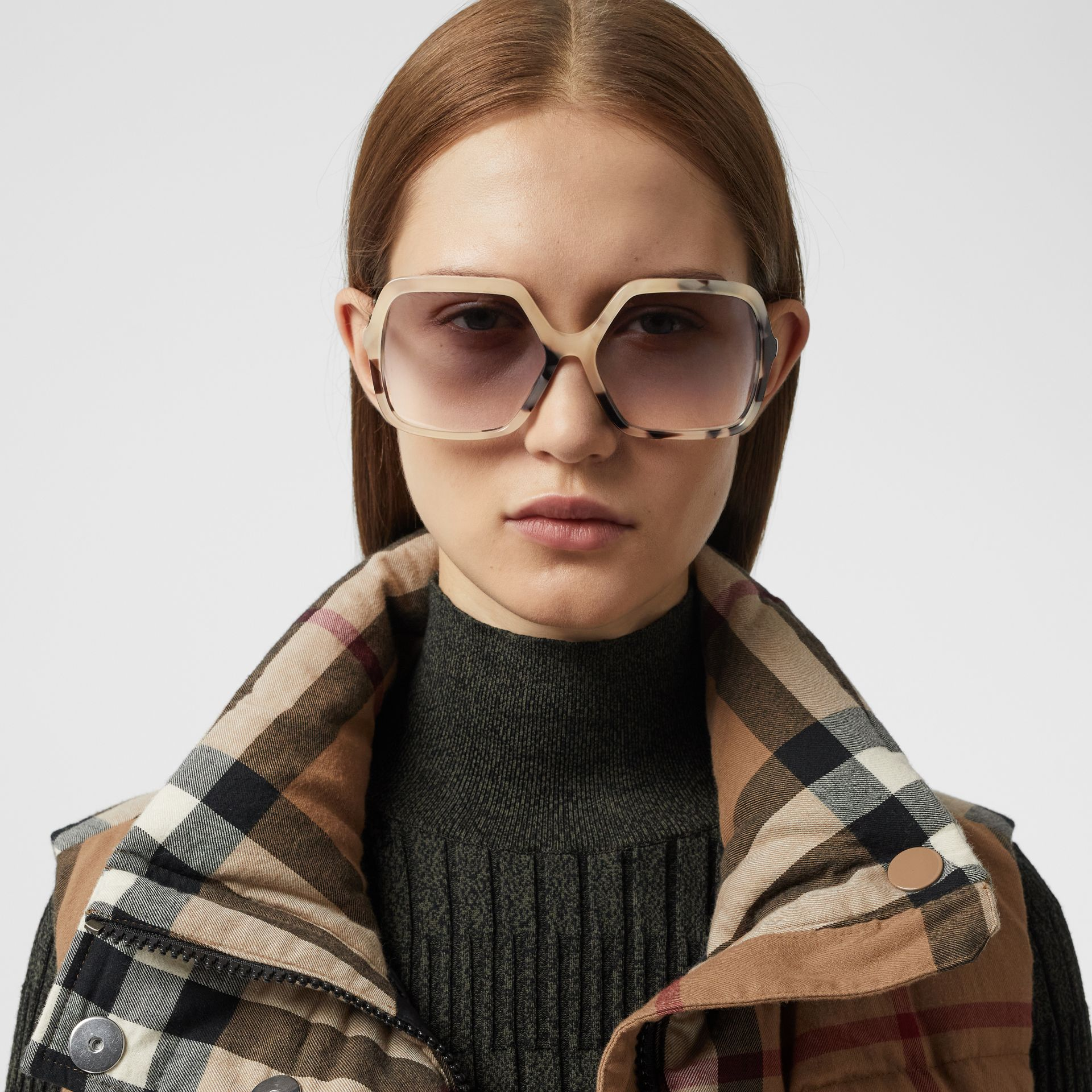 Oversized Square Frame Sunglasses in Honey Tortoiseshell - Women | Burberry - gallery image 2
