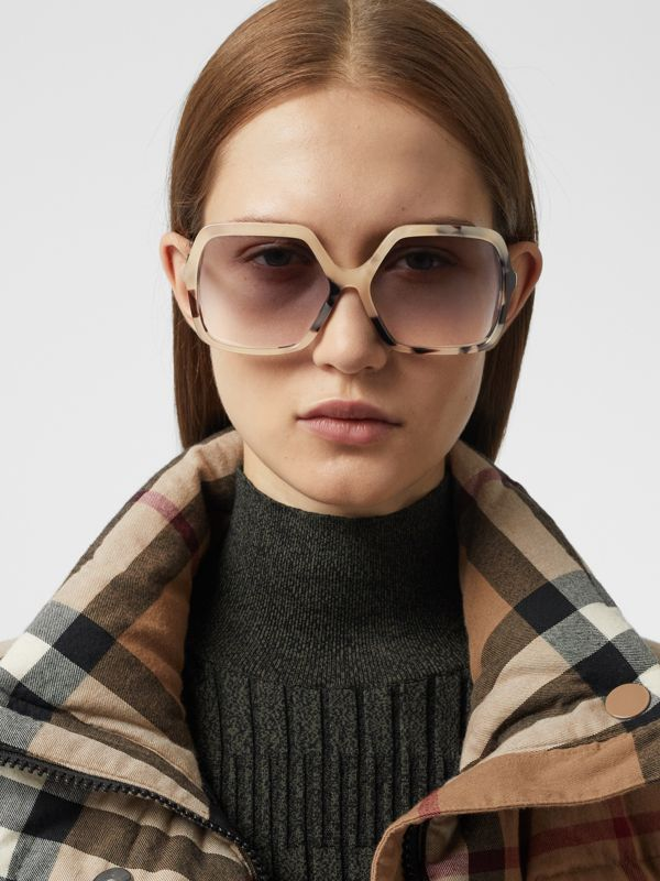 Oversized Square Frame Sunglasses in Honey Tortoiseshell - Women | Burberry - cell image 2