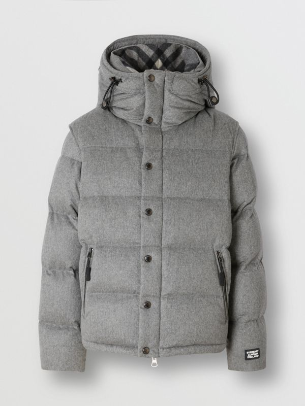 Detachable Sleeve Cashmere Hooded Puffer Jacket in Mid Grey Melange - Men | Burberry - cell image 3
