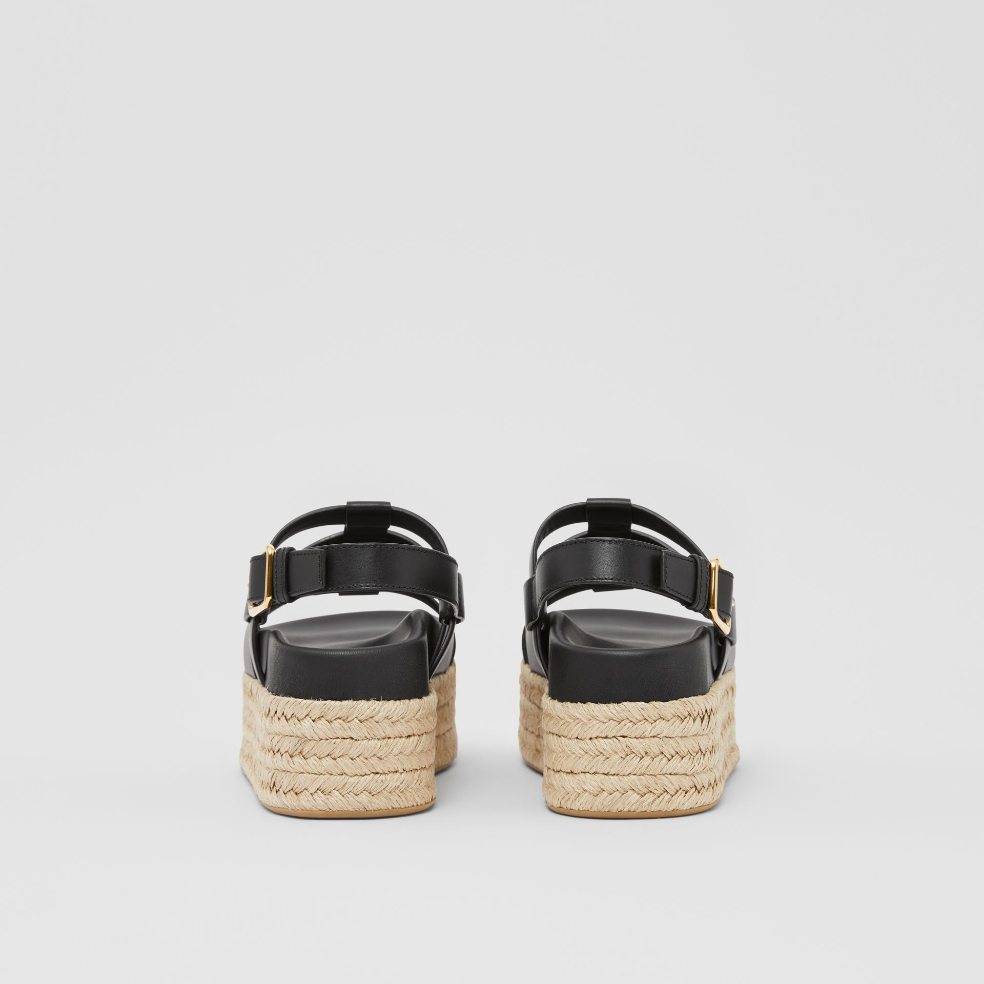 Logo Embossed Leather and Jute Sandals in Black - Women | Burberry - gallery image 3