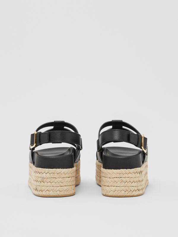 Logo Embossed Leather and Jute Sandals in Black - Women | Burberry - cell image 3