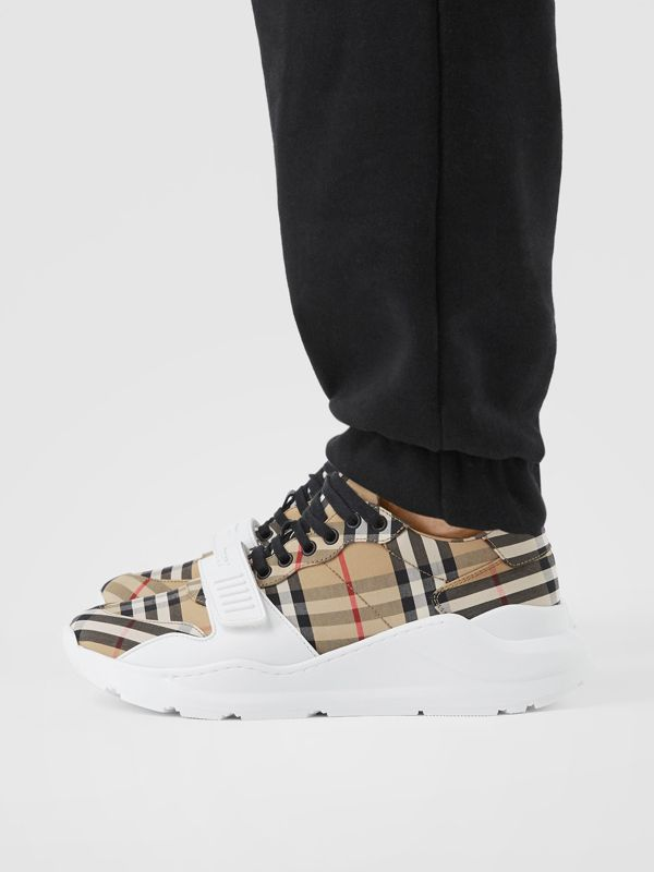 Vintage Check Cotton Sneakers in Archive Beige - Men | Burberry - cell image 2