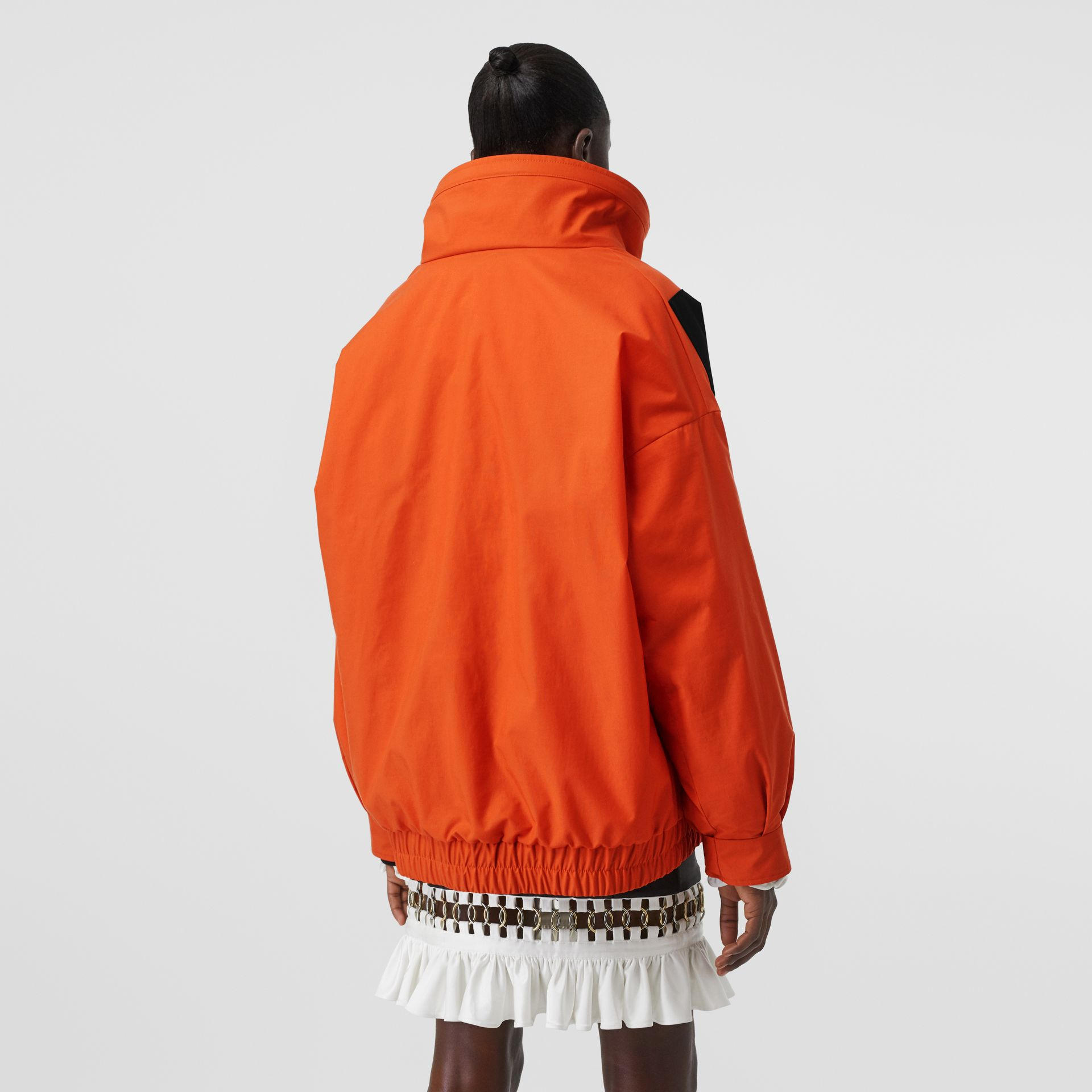 Panelled Nylon Track Jacket with Detachable Warmer in Bright Orange - Women | Burberry United Kingdom - gallery image 2