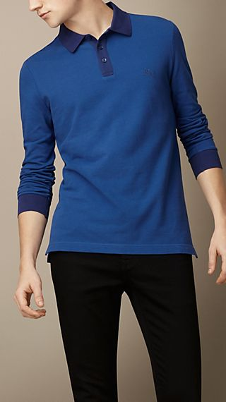 Long Sleeve Colour Block Polo Shirt