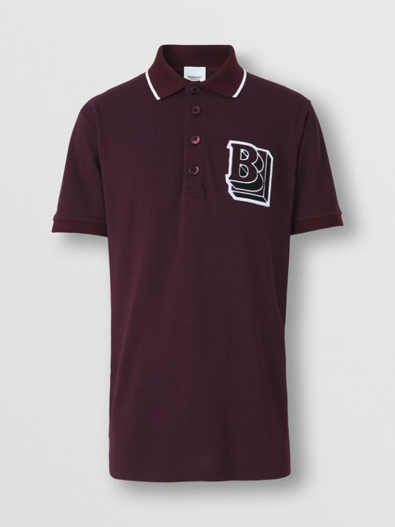 Letter Graphic Cotton Piqué Oversized Polo Shirt in Deep Maroon