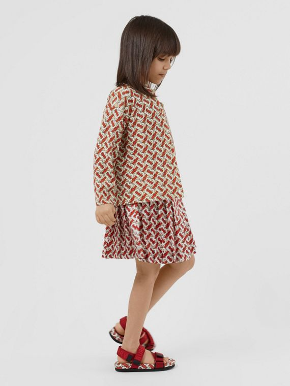 Monogram Print Merino Wool Two-piece Set in Vermilion Red