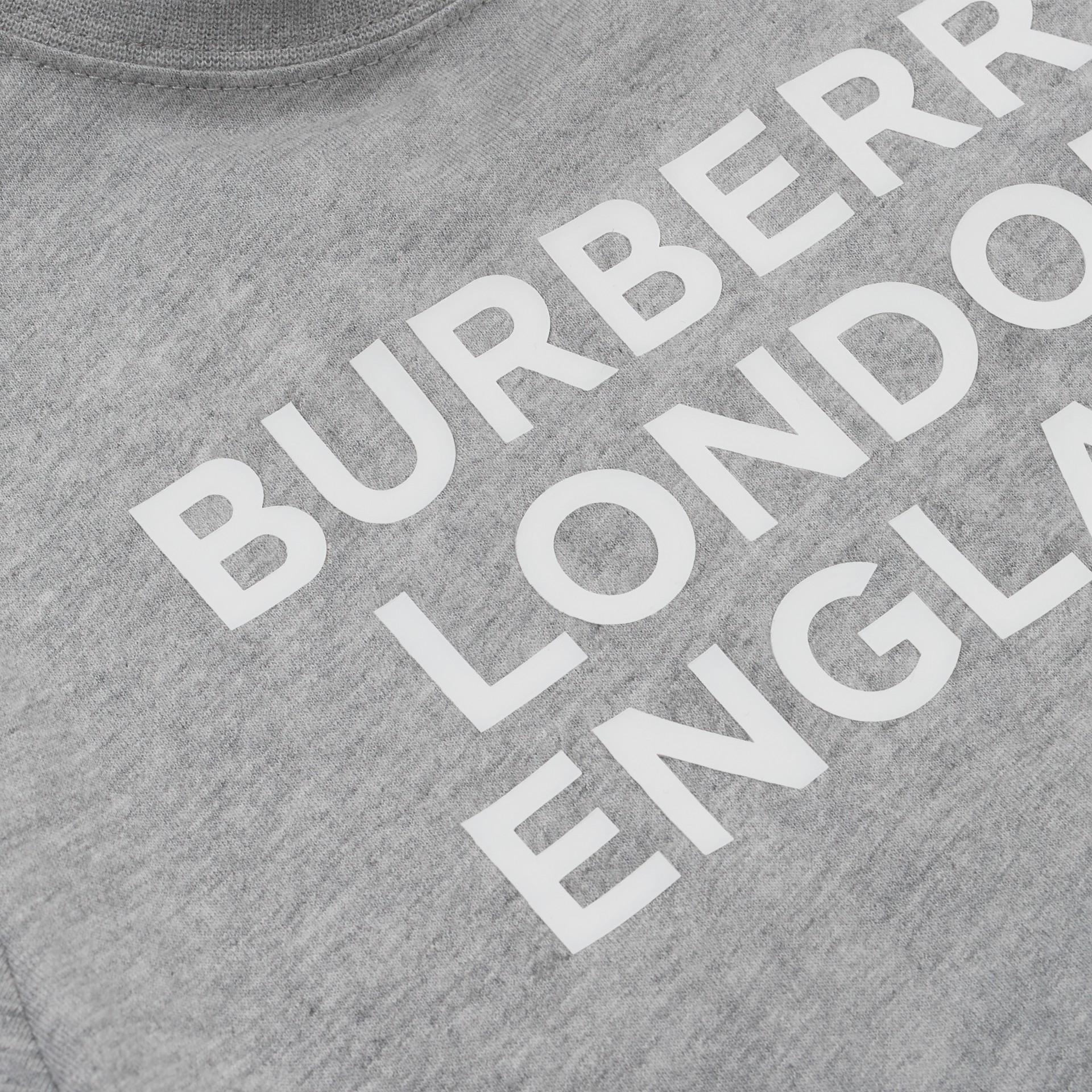 Logo Print Cotton T-shirt in Grey Melange   Burberry - gallery image 1