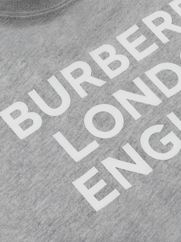 Logo Print Cotton T-shirt in Grey Melange   Burberry - cell image 1