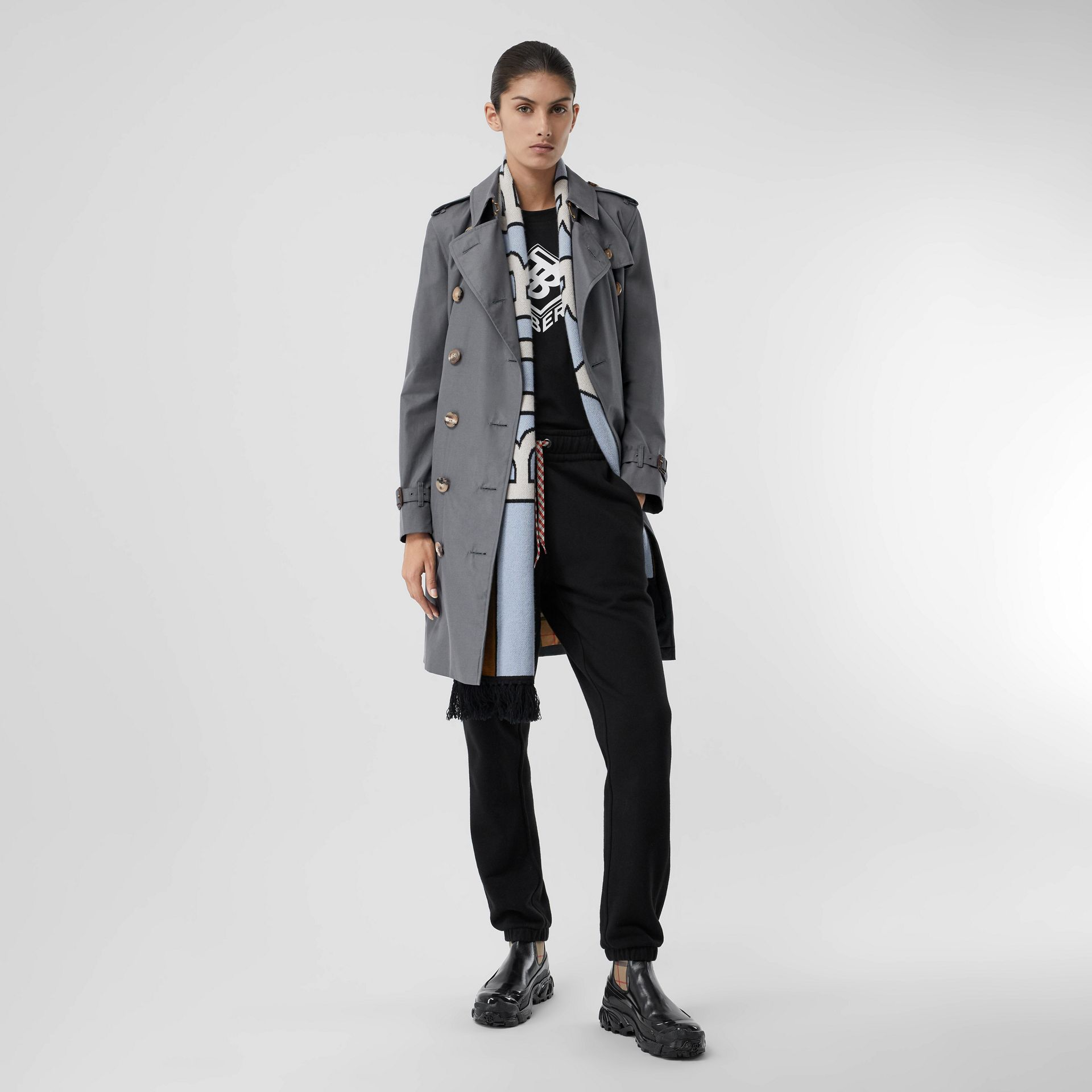 The Mid-length Kensington Heritage Trench Coat in Grey - Women | Burberry - gallery image 1
