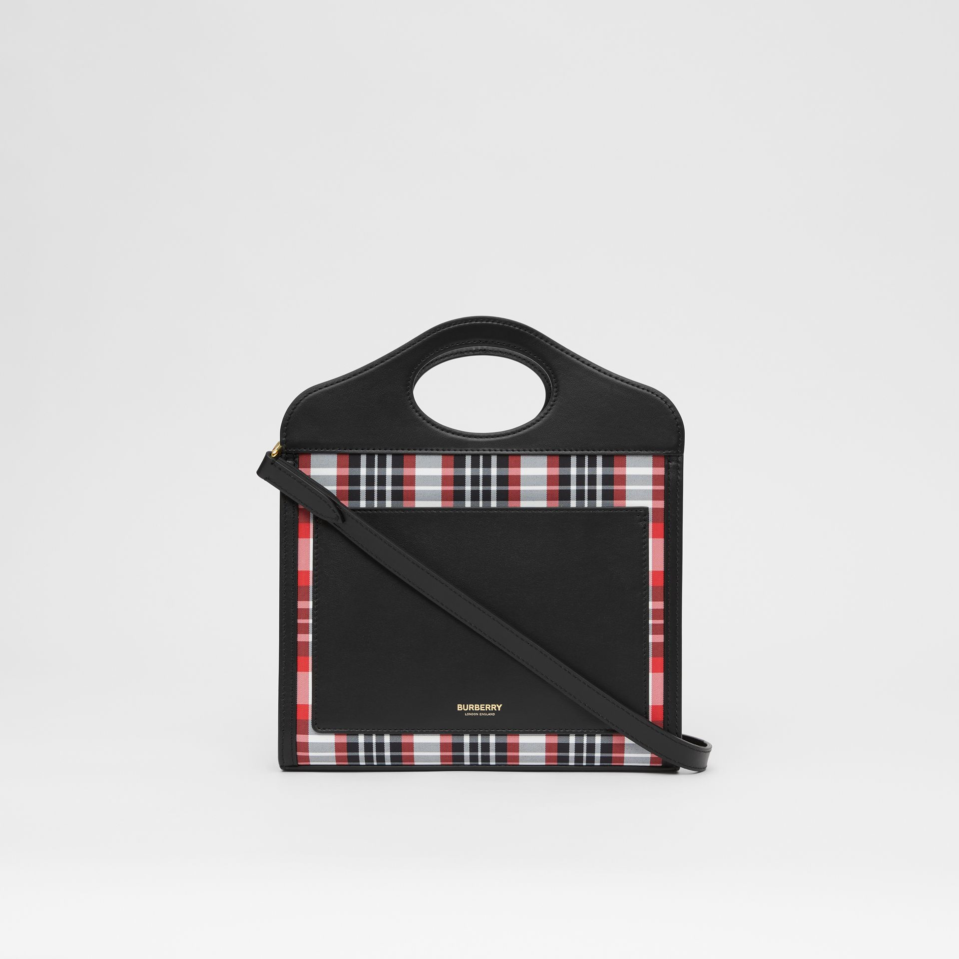 Mini Tartan Nylon and Leather Pocket Bag in Bright Red - Women | Burberry - gallery image 7