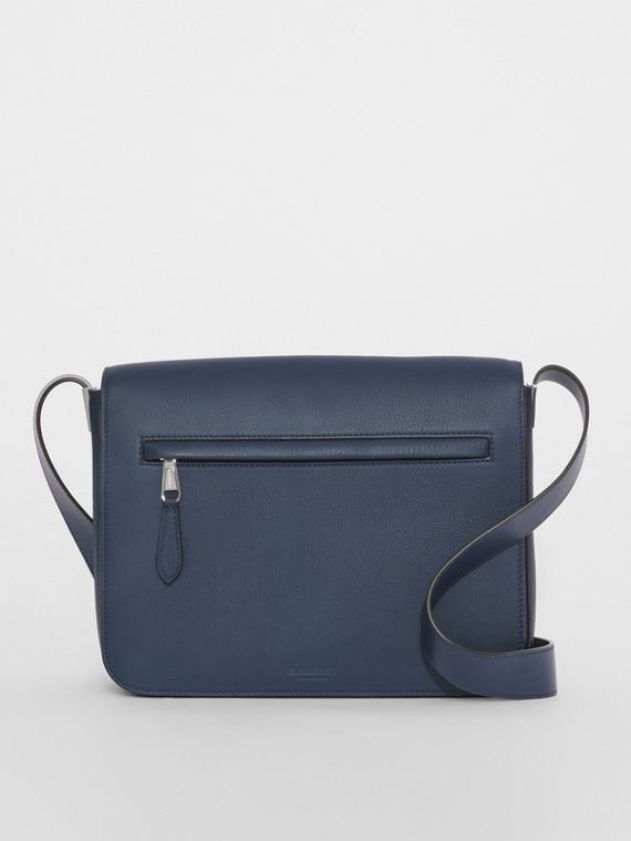 Small Grainy Leather Messenger Bag in Ash Blue