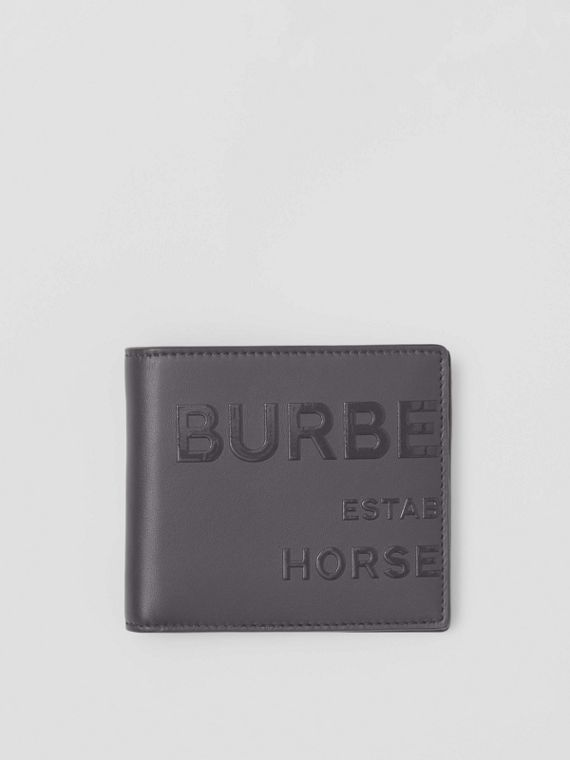 Horseferry Print Leather International Bifold Wallet in Sepia Grey