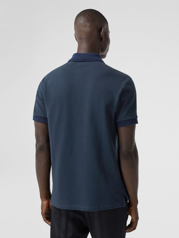 Button Detail Cotton Piqué Polo Shirt in Navy - Men | Burberry - cell image 2