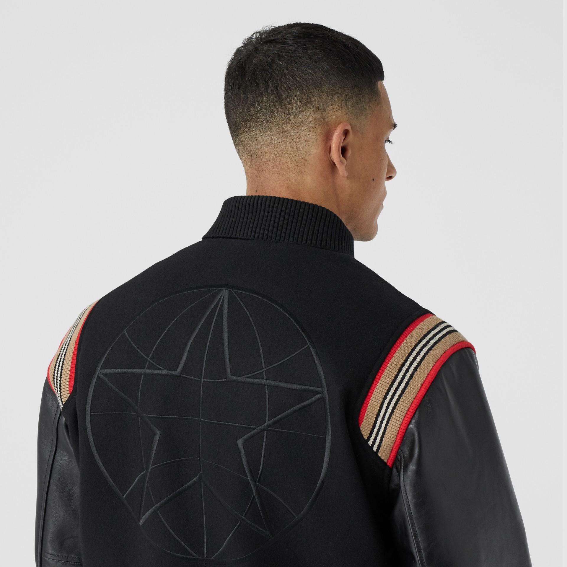 Icon Stripe Trim Wool Felt and Leather Bomber Jacket | Burberry United Kingdom - gallery image 4