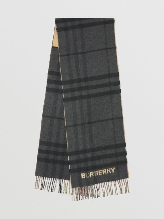 Contrast Check Cashmere Scarf in Archive Beige/black