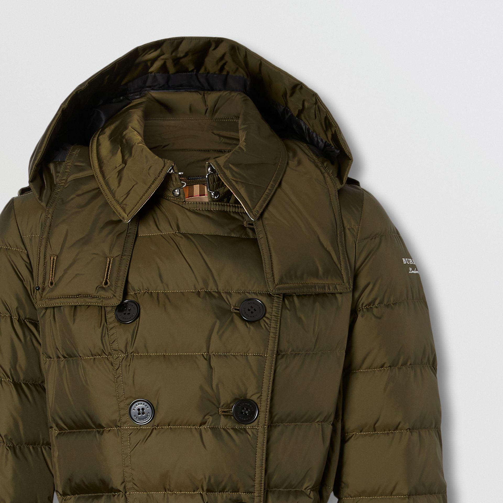 Detachable Hood Belted Puffer Coat in Dark Olive - Women | Burberry Australia - gallery image 1