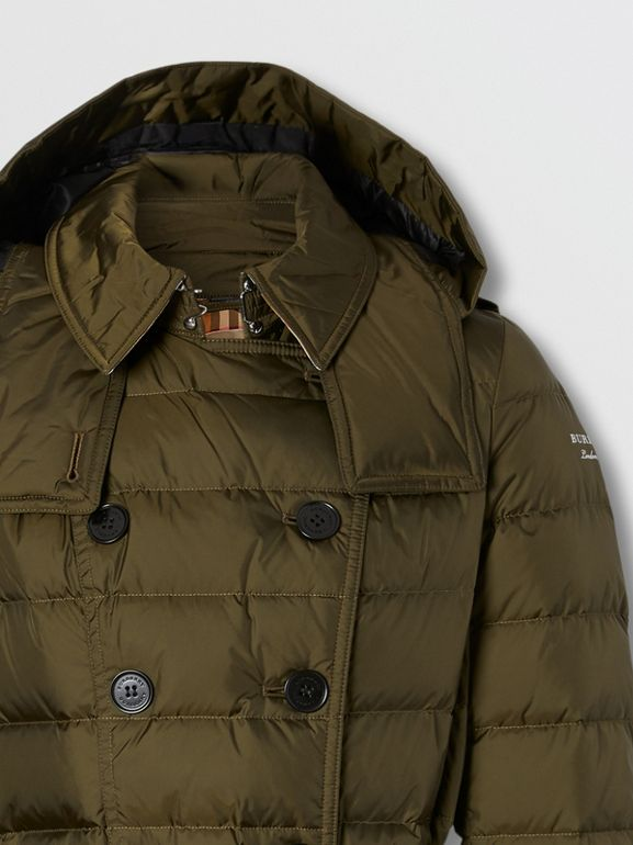 Detachable Hood Belted Puffer Coat in Dark Olive - Women | Burberry Australia - cell image 1