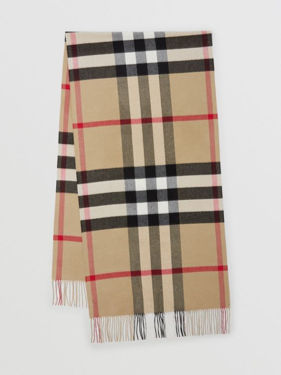 Check Cashmere Oversized Scarf in Archive Beige