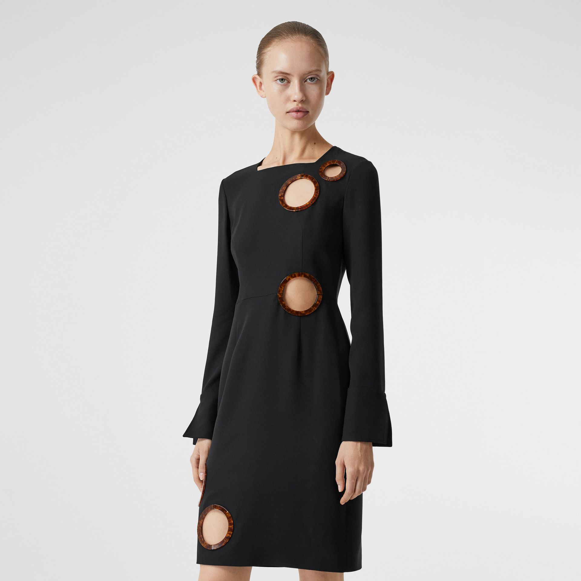 Cut-out Detail Stretch Silk Crepe Shift Dress in Black - Women | Burberry - gallery image 5