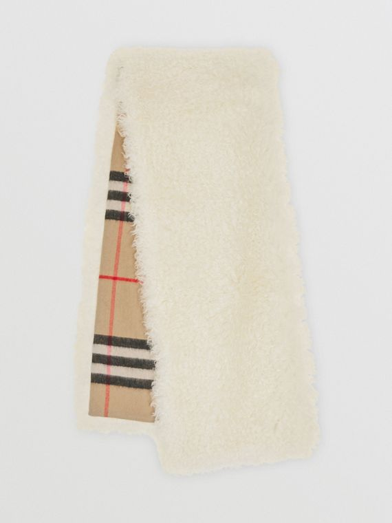 Reversible Check Cashmere and Mohair Blend Scarf in Archive Beige