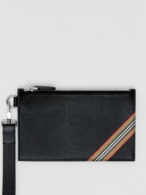Icon Stripe Print Grainy Leather Zip Pouch in Black