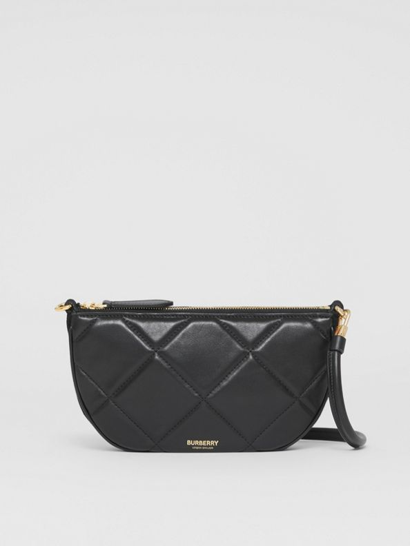 Quilted Lambskin Olympia Pouch in Black