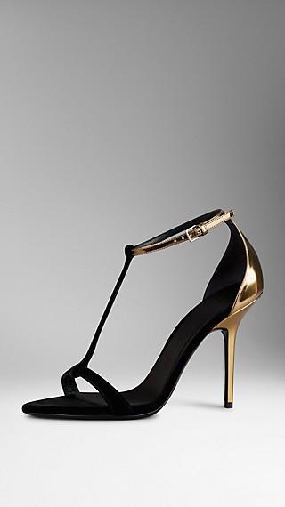 Velvet and Metallic Leather T-Bar Sandals