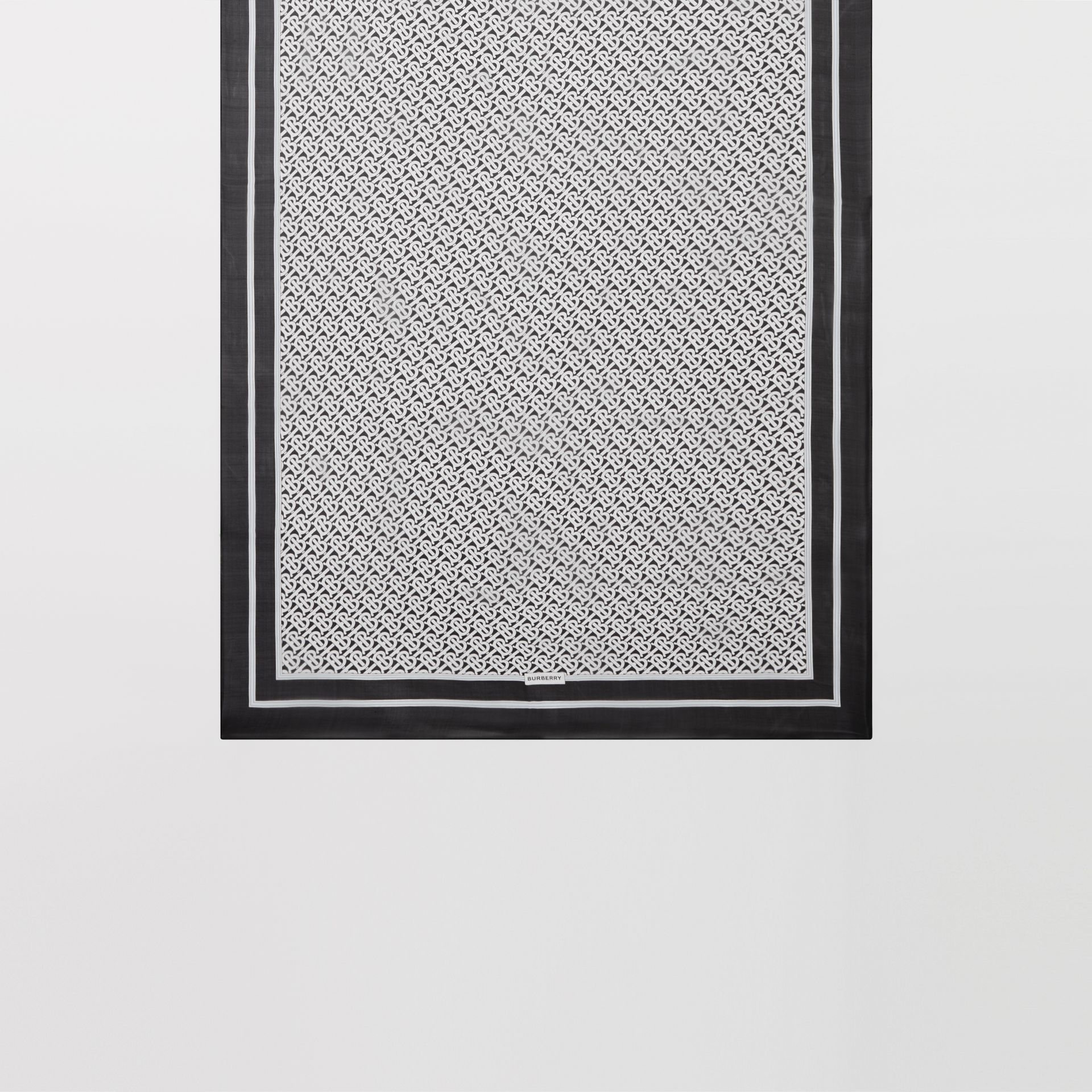 Monogram Print Silk Chiffon Scarf in Monochrome | Burberry - gallery image 4