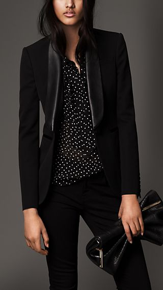 Stretch Wool Jacket with Leather Collar
