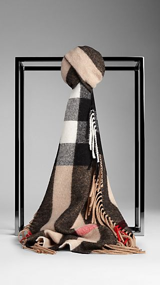 Cashmere and Merino Wool Check Scarf