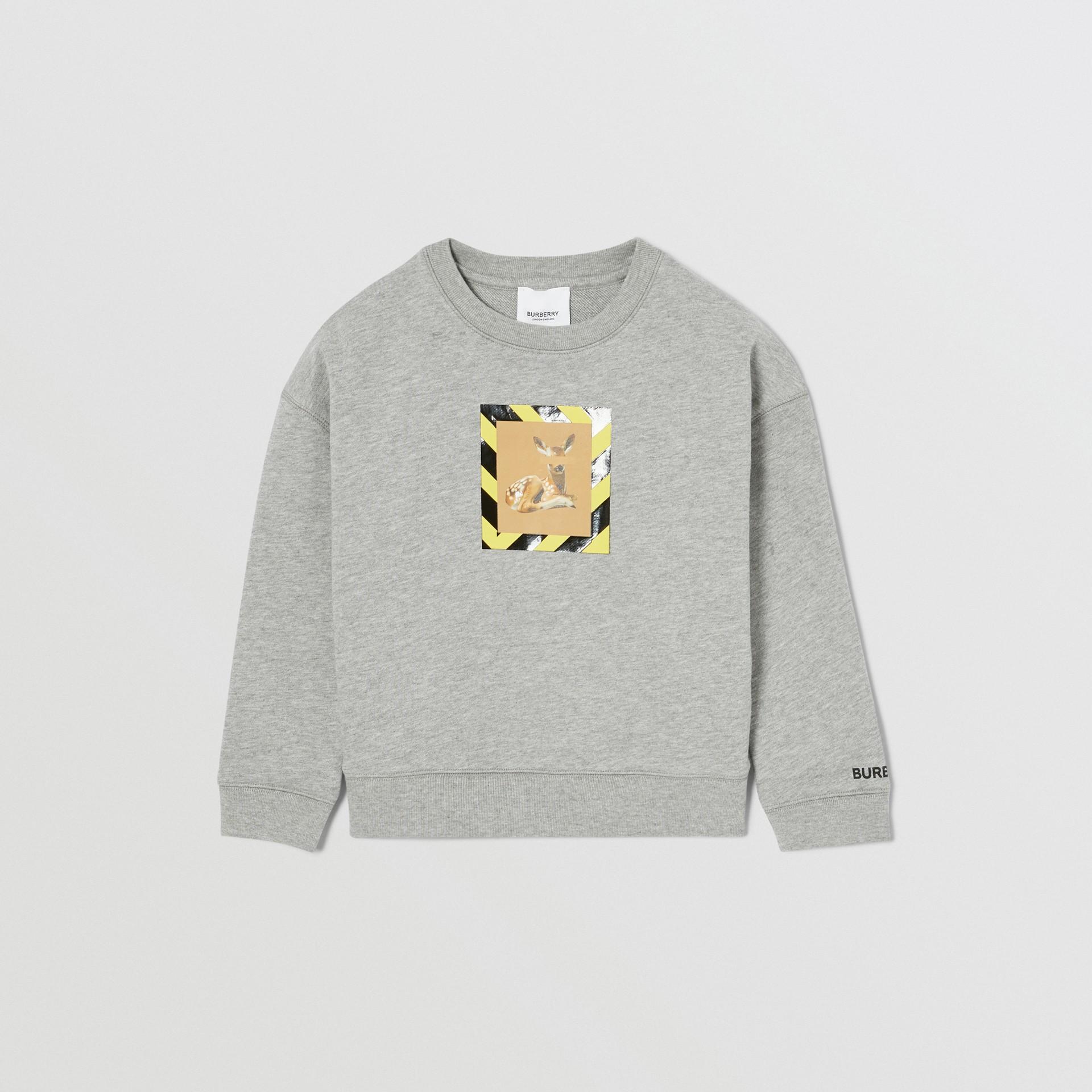 Deer Print Cotton Sweatshirt in Grey Melange | Burberry United Kingdom - gallery image 1