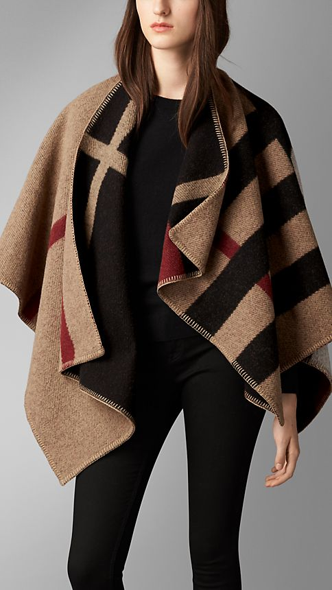 House check/black Check Wool and Cashmere Blanket Poncho - Image 1