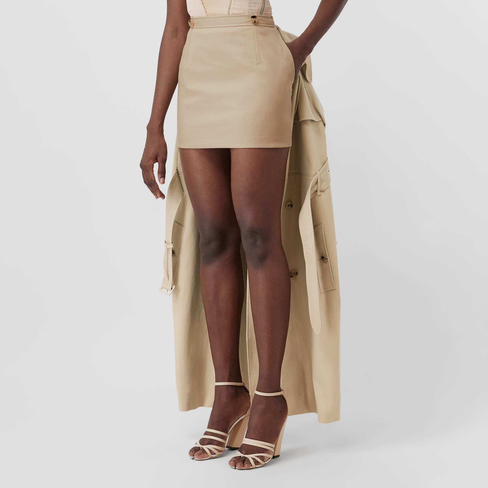 Detachable Trench Coat Detail Cotton Twill Mini Skirt in Soft Fawn - Women | Burberry - gallery image 1