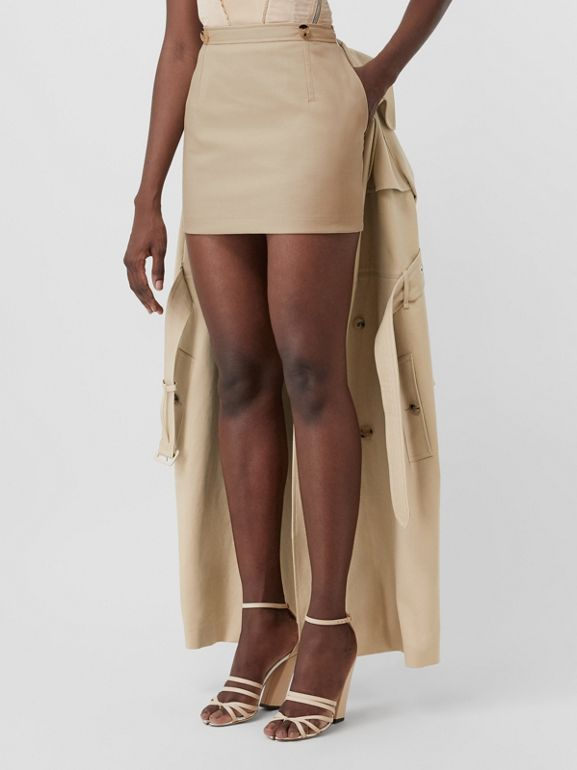 Detachable Trench Coat Detail Cotton Twill Mini Skirt in Soft Fawn - Women | Burberry - cell image 1