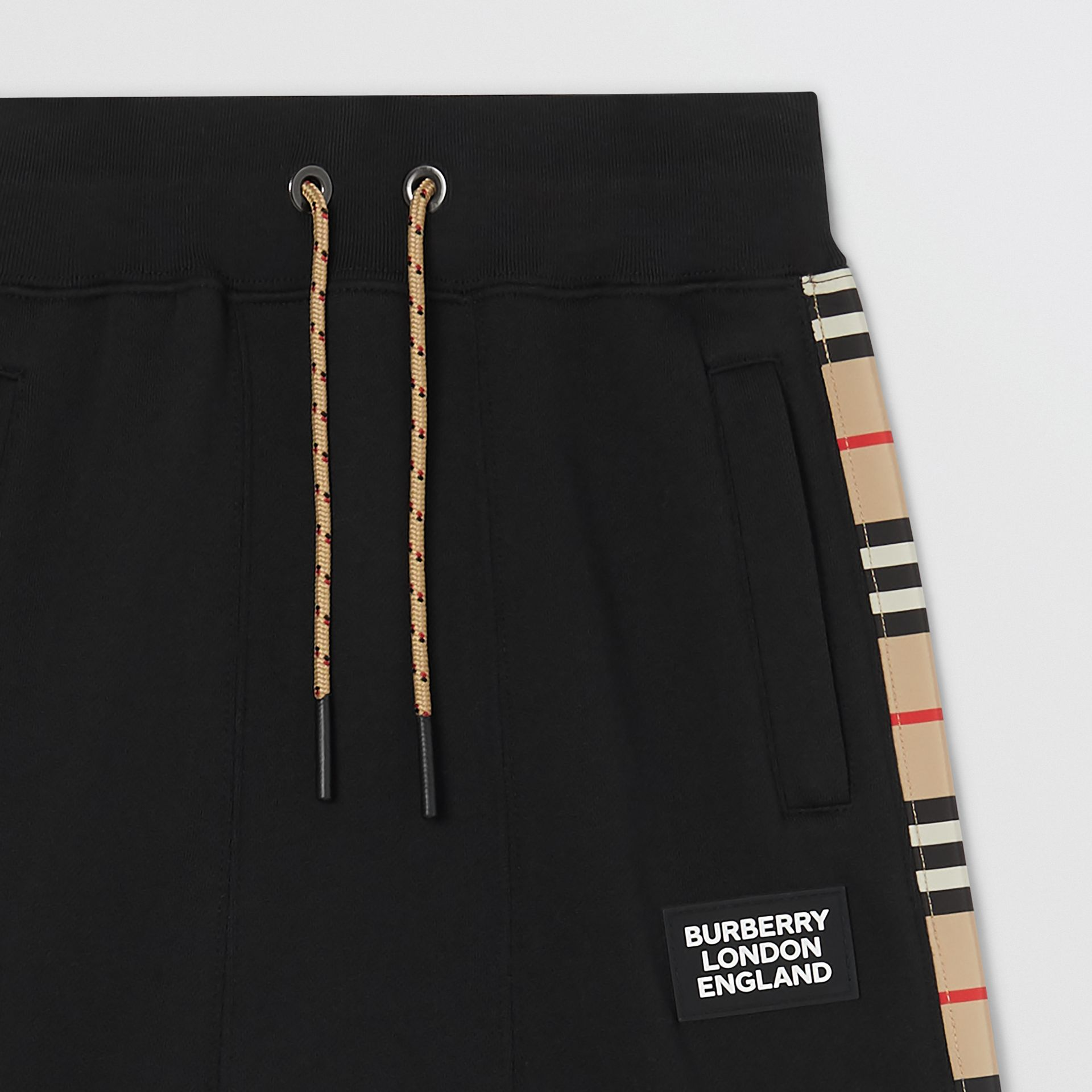 Icon Stripe Panel Cotton Trackpants in Black | Burberry United Kingdom - gallery image 3