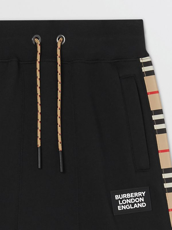 Icon Stripe Panel Cotton Trackpants in Black | Burberry United Kingdom - cell image 3