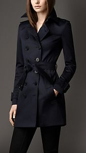 Trench coat medio in satin di cotone