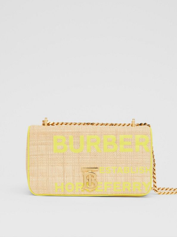 Bolsa Lola em ráfia acolchoada com estampa Horseferry - Pequena