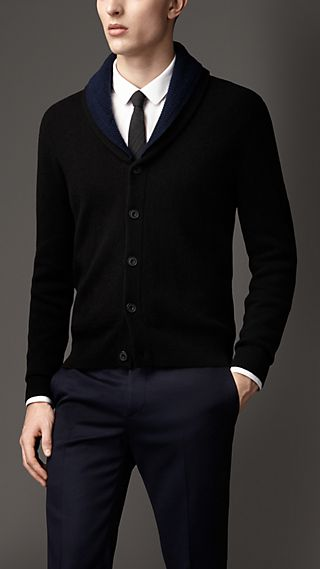 Double-Faced Cashmere Shawl Collar Cardigan