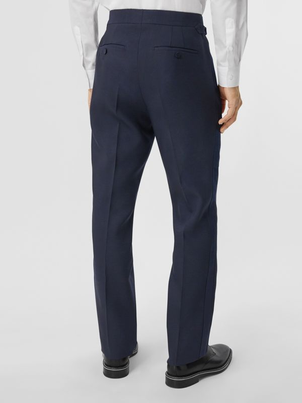 Classic Fit Wool Silk Blend Tailored Trousers in Navy - Men | Burberry - cell image 2