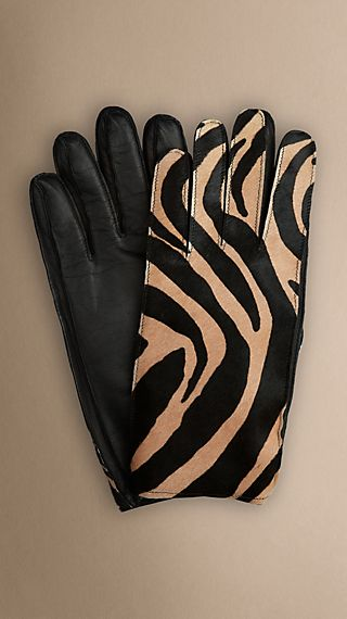 Animal Print Calfskin Gloves