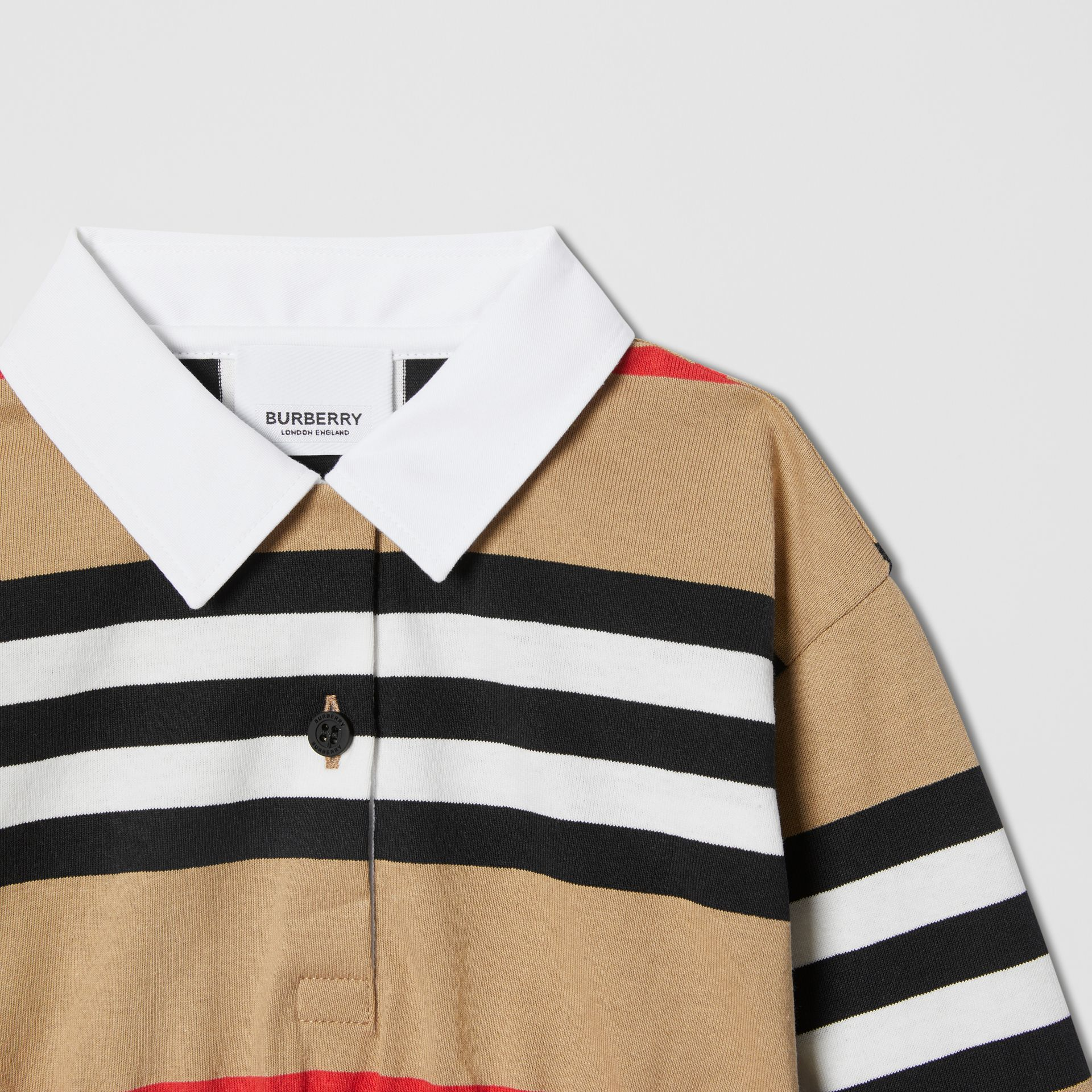 Long-sleeve Icon Stripe Cotton Dress in Archive Beige - Children   Burberry United Kingdom - gallery image 3
