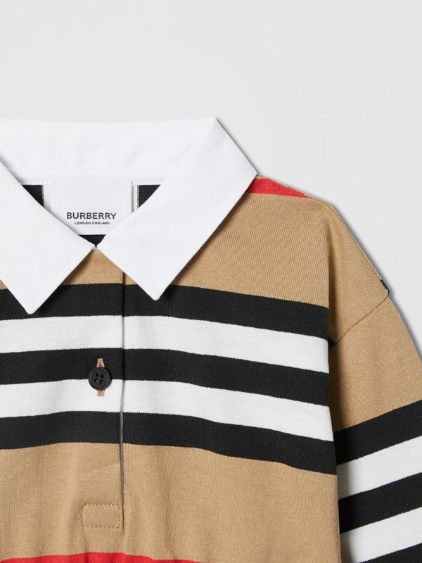Long-sleeve Icon Stripe Cotton Dress in Archive Beige - Children   Burberry United Kingdom - cell image 3